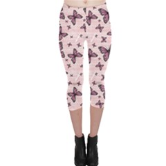 Pink Pattern Colorful Butterflies Capri Leggings by CoolDesigns