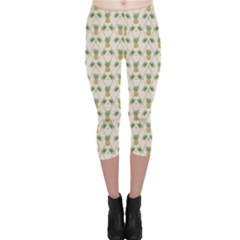Yellow Tropical Pattern Palm Branches and Pineapples Capri Leggings by CoolDesigns
