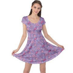 Purple Pattern Donuts Candies And Lollypops Check Cap Sleeve Dress by CoolDesigns