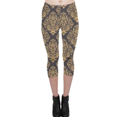 Yellow Damask Pattern Element Capri Leggings by CoolDesigns