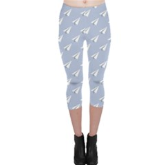 Blue Pattern Plane In The Sky Capri Leggings by CoolDesigns