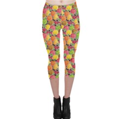 Colorful Pattern Cute Kawaii Smiling Fruits Stickers Capri Leggings by CoolDesigns