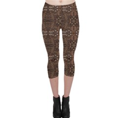 Brown Vintage Pattern Ornamental Capri Leggings by CoolDesigns