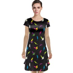 Colorful Space With Cats Saturn And Stars Cap Sleeve Nightdress by CoolDesigns