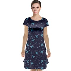 Blue Airplanes In The Night Sky Pattern Cap Sleeve Nightdress by CoolDesigns