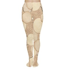 Brown Tree Rings Saw Cut Tree Trunk Wallpaper Women s Tights by CoolDesigns