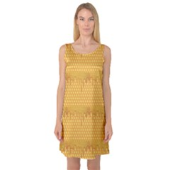 Yellow Honeycomb With Honey Sleeveless Satin Nightdress by CoolDesigns