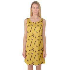 Yellow Pattern Of The Bee On Honeycombs Sleeveless Satin Nightdress by CoolDesigns