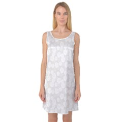 Gray Grey And White Floral Pattern With Classic White Sleeveless Satin Nightdress by CoolDesigns