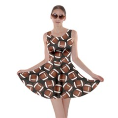 Brown Football On Black Pattern Skater Dress by CoolDesigns