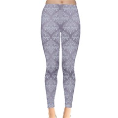 Purple Damask Pattern For Design Leggings by CoolDesigns