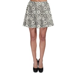 Black Pattern Bicycle Wheels Skater Skirt by CoolDesigns