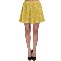 Yellow Pattern Banana And Splashes Skater Skirt by CoolDesigns