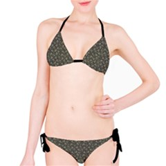 Dark Cannabis Leafs With Skulls Pattern Bikini Set by CoolDesigns