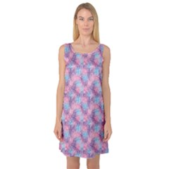 Purple Violet Abstract With Sparks Floral Sleeveless Satin Nightdress by CoolDesigns