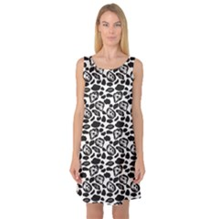 Black Pattern With Cartoon Cows Black And White Sleeveless Satin Nightdress by CoolDesigns