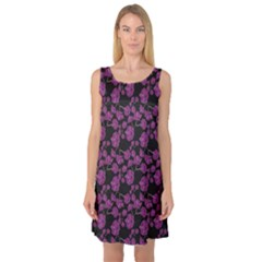 Dark Floral Pattern With Orchids Hand Drawing Sleeveless Satin Nightdress by CoolDesigns