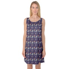 Blue Indian Floral Pattern On Blue Sleeveless Satin Nightdress by CoolDesigns