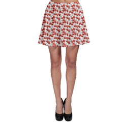 Red Medical Pills Over White Pattern Skater Skirt by CoolDesigns