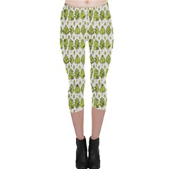 Green Stylized Leaf Pattern Leaves Capri Leggings by CoolDesigns