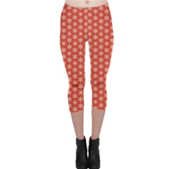 Red Red With White Snowflakes Pattern Capri Leggings by CoolDesigns