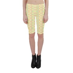 Yellow Cock Chicken Pattern Cropped Leggings by CoolDesigns