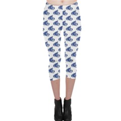 Blue Blue Yachts Or Sailboat Pattern Capri Leggings by CoolDesigns