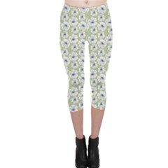 Green Decorative Pattern With White Poppies Capri Leggings by CoolDesigns