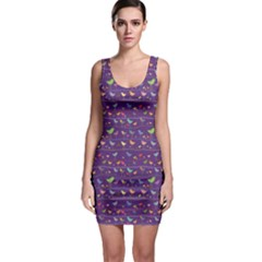Blue Retro Funny Bird Pattern Design Element Bodycon Dress by CoolDesigns