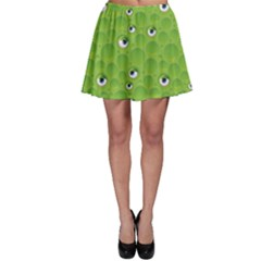 Green Pattern with Bubbles and Eyes Skater Dress by CoolDesigns