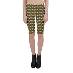 Brown Image Of Sharks And Underwater Masks Cropped Leggings by CoolDesigns