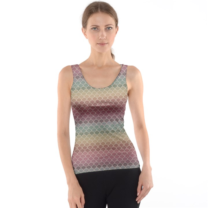 Pink Colorful Rainbow Chevron Pattern Tank Top