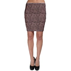 Black Repeating Zigzag Chevron Flower Pattern Bodycon Skirt by CoolDesigns