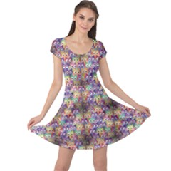 Purple Owls Pattern Cap Sleeve Dress by CoolDesigns