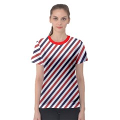 Red Barber Pole Pattern Barber Texture Women s Sport Mesh Tee by CoolDesigns