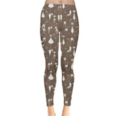 Mocha Cute White Cats Pattern Leggings by CoolDesigns