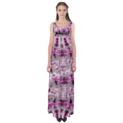 Pink Gray Tie Dye Empire Waist Maxi Dress by CoolDesigns