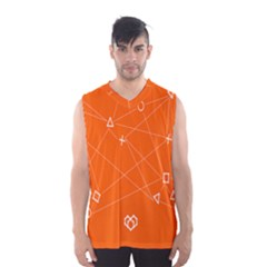 Leadership Deep Dive Orange Line Circle Plaid Triangle Men s Basketball Tank Top by Alisyart