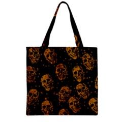 Sparkling Glitter Skulls Golden Grocery Tote Bag