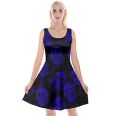 Sparkling Glitter Skulls Blue Reversible Velvet Sleeveless Dress