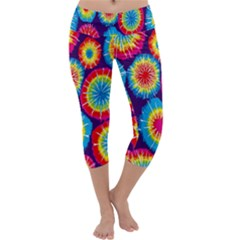 Tie Dye Circle Round Color Rainbow Red Purple Yellow Blue Pink Orange Capri Yoga Leggings