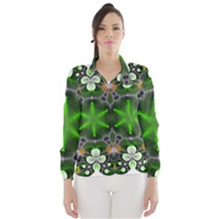 Green Flower In Kaleidoscope Wind Breaker (Women) by Simbadda