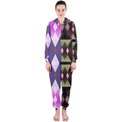 Geometric Abstract Background Art Hooded Jumpsuit (Ladies)