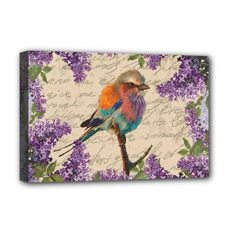 Vintage Bird And Lilac Deluxe Canvas 18  X 12   by Valentinaart