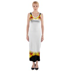Circle Fractal Frame Fitted Maxi Dress