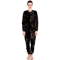 Golden Bows And Arrows On Black Onepiece Jumpsuit (ladies)