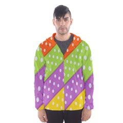 Colorful Easter Ribbon Background Hooded Wind Breaker (men) by Simbadda
