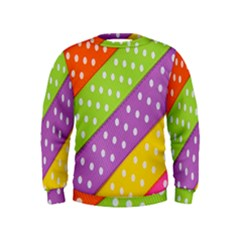 Colorful Easter Ribbon Background Kids  Sweatshirt by Simbadda