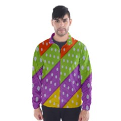 Colorful Easter Ribbon Background Wind Breaker (men) by Simbadda