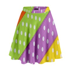 Colorful Easter Ribbon Background High Waist Skirt by Simbadda